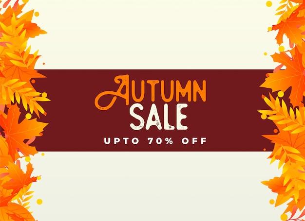 Fond de vente automne avec des feuilles d'oranger