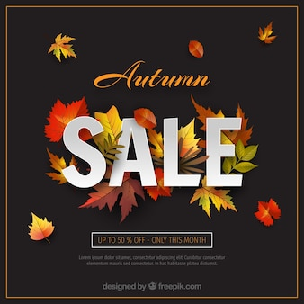 Fond de vente automne avec des feuilles réalistes