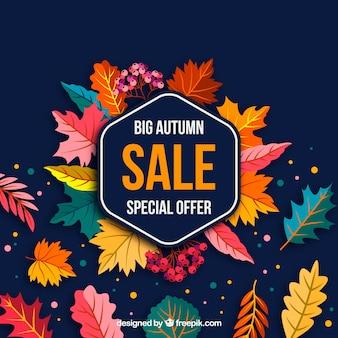 Fond de vente automne avec des feuilles
