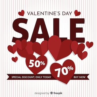 Fond de vente coeurs plat saint valentin