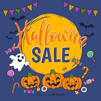 Fond de vente coloré halloween avec citrouille