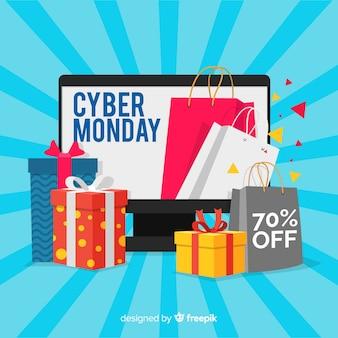 Fond de vente cyber lundi avec des appareils électroniques