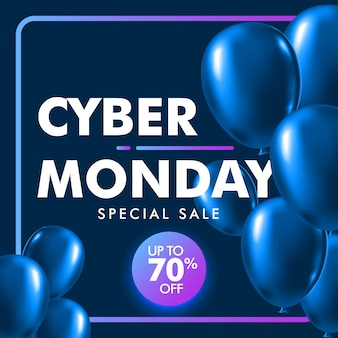 Fond de vente cyber lundi avec ballon bleu brillant.