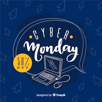 Fond de vente cyber lundi avec ordinateur
