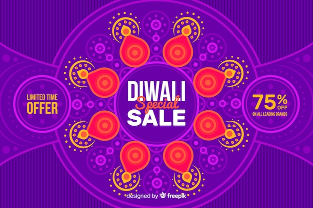 Fond de vente design plat diwali