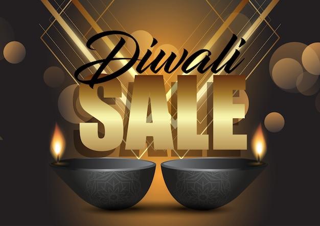 Fond de vente diwali avec lampes à huile