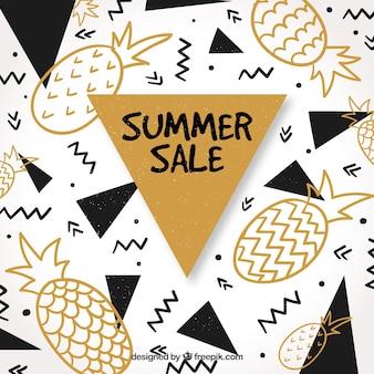 Fond de vente d'été avec des ananas et des formes géométriques