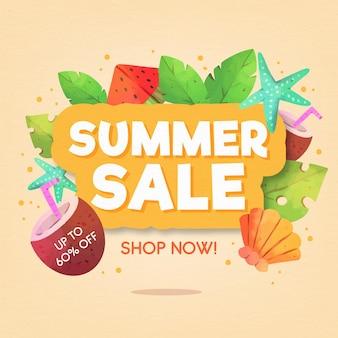 Fond de vente d'été aquarelle