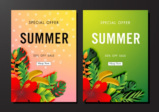 Fond de vente d'été avec l'art du papier de conception tropicale