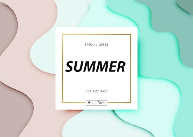 Fond vente d'été avec l'art du papier de la plage, conception abstraite