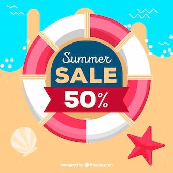 Fond de vente d'été avec ceinture de vie