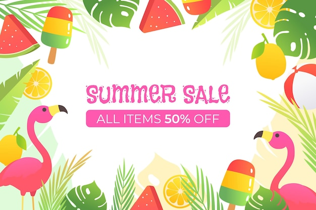 Fond de vente d'été coloré avec offre