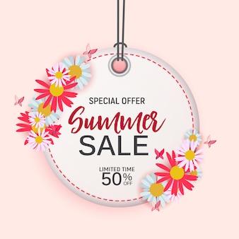 Fond de vente d'été fleur abstraite avec cadre. illustration