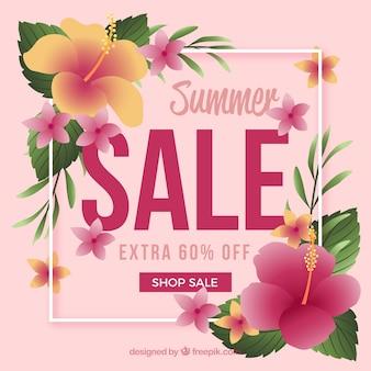 Fond de vente d'été avec des fleurs
