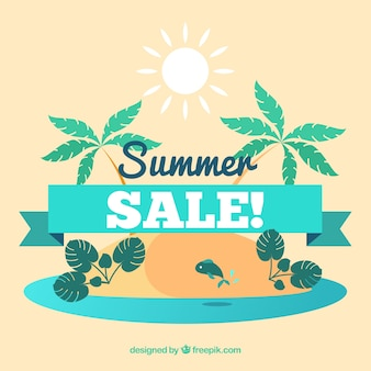 Fond de vente d'été avec des îles et des palmiers