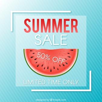 Fond de vente d'été avec pastèque et rayures