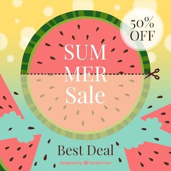 Fond de vente d'été avec pastèque