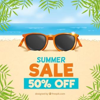 Fond de vente d'été avec plage