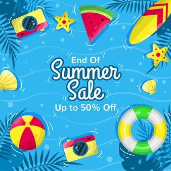 Fond de vente d'été plat avec le concept de l'océan
