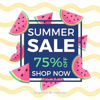 Fond de vente d'été avec des vagues et de la pastèque