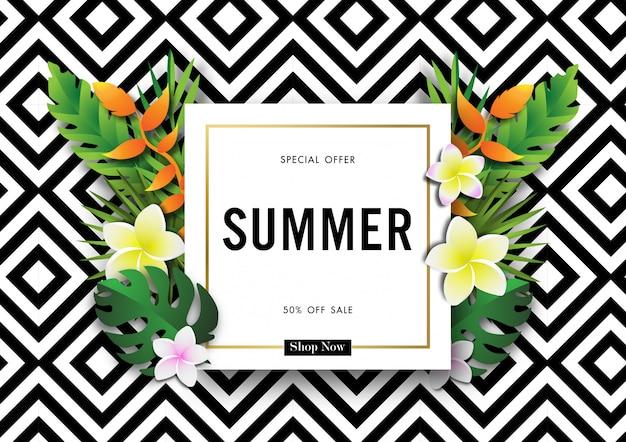 Fond de vente de l'été avec le vecteur de design tropical