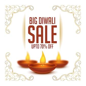 Fond de vente festival joyeux diwali avec diya réaliste