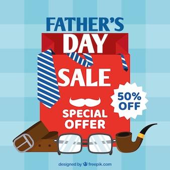 Fond de vente fête des pères avec des cadeaux
