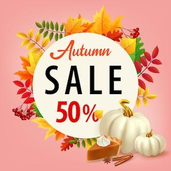 Fond de vente avec des feuilles d'automne tarte à la citrouille