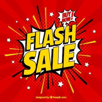 Fond de vente flash dans le style comique