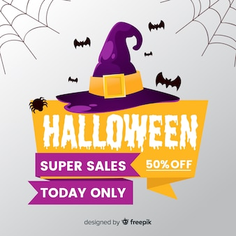 Fond de vente halloween dans un style plat