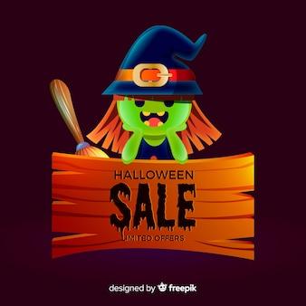 Fond de vente halloween avec jolie sorcière