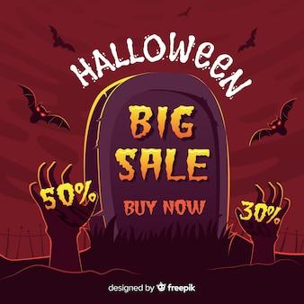 Fond de vente d'halloween avec des mains de pierre tombale et de zombie