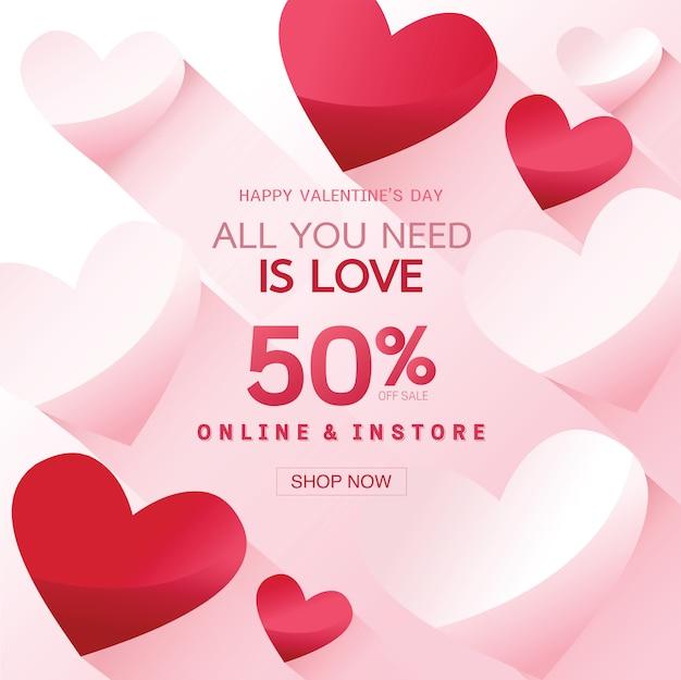 Fond de vente happy valentine's day, bannière, affiche ou flyer
