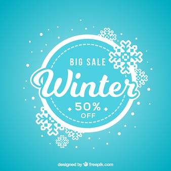 Fond de vente hiver bleu