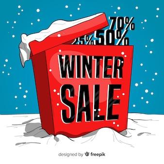 Fond de vente hiver boîte dessinés à la main