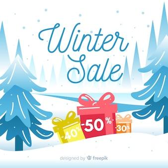 Fond de vente hiver cadeaux colorés