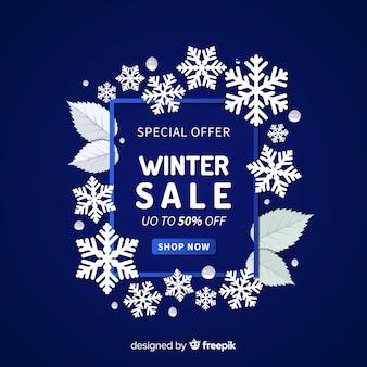 Fond de vente hiver cadre flocons de neige