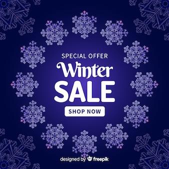 Fond de vente hiver couronne flocon de neige
