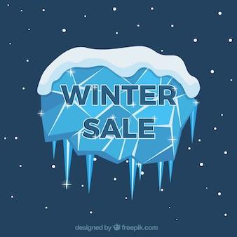Fond de vente d'hiver avec cristal de glace