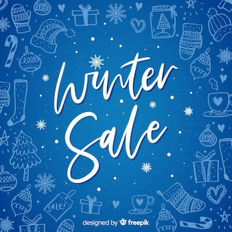 Fond de vente hiver dessinés à la main