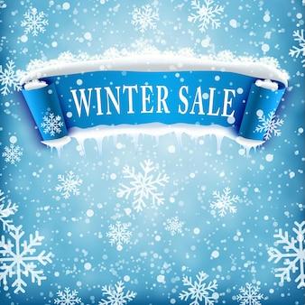 Fond de vente d'hiver avec ruban réaliste bleu