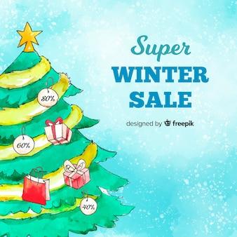 Fond de vente d'hiver de sapin de noël aquarelle