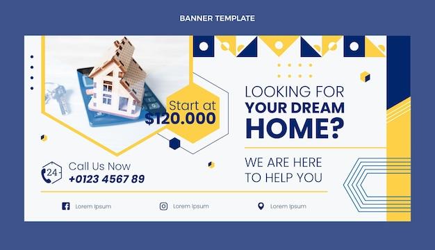 Fond de vente immobilier géométrique abstrait plat