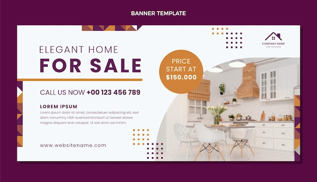 Fond de vente immobilier géométrique design plat