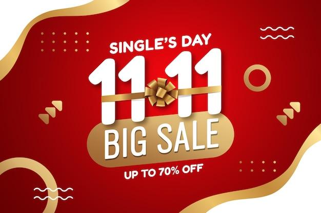 Fond de vente de jour de célibataire doré et rouge dégradé