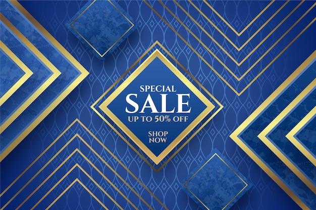Fond de vente de luxe avec des éléments dorés