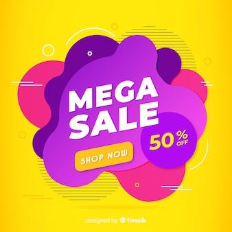 Fond de vente mega avec des formes abstraites