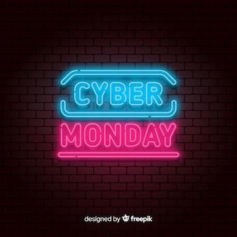 Fond de vente de néon de cyber lundi