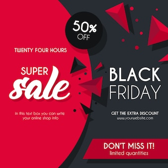 Fond de vente noir et rouge pour black friday