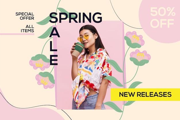 Fond de vente plat beau printemps avec photo